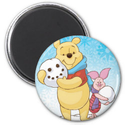 Round Magnet with Cute Winter Winnie the Pooh and Piglet in the Snow design