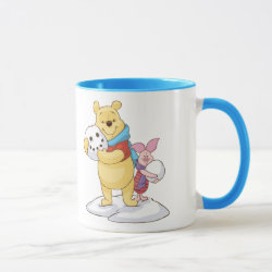 Cute Winter Winnie the Pooh and Piglet in the Snow Combo Mug