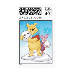 Medium Stamp 2.1' x 1.3' with Cute Winter Winnie the Pooh and Piglet in the Snow design