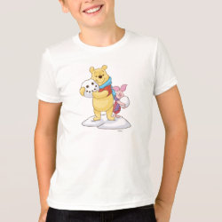 Kids' American Apparel Fine Jersey T-Shirt with Cute Winter Winnie the Pooh and Piglet in the Snow design