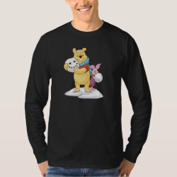 Men's Basic Long Sleeve T-Shirt with Cute Winter Winnie the Pooh and Piglet in the Snow design