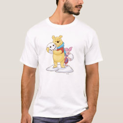 Men's Basic T-Shirt with Cute Winter Winnie the Pooh and Piglet in the Snow design