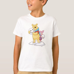 Cute Winter Winnie the Pooh and Piglet in the Snow Kids' Hanes TAGLESS® T-Shirt