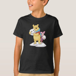Kids' Hanes TAGLESS® T-Shirt with Cute Winter Winnie the Pooh and Piglet in the Snow design
