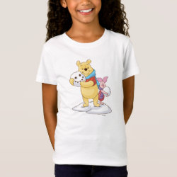 Girls' Fine Jersey T-Shirt with Cute Winter Winnie the Pooh and Piglet in the Snow design