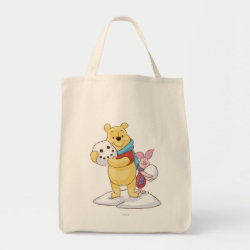 Cute Winter Winnie the Pooh and Piglet in the Snow Grocery Tote
