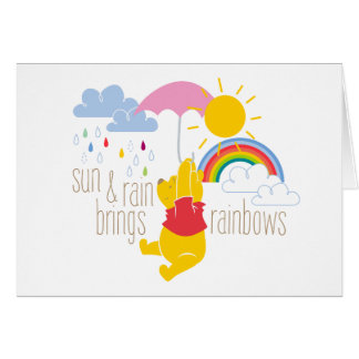Pooh | Sun & Rain Brings Rainbows Quote Card