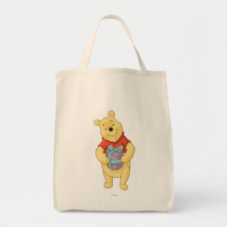 Pooh With Gift Grocery Tote Bag