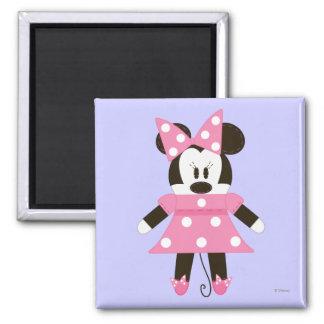 Pook-a-Looz Minnie | Pink Polka Dots Dress 2 Inch Square Magnet