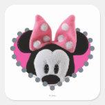 Pook-a-Looz que mira a escondidas Minnie Mouse Calcomania Cuadrada Personalizada