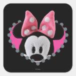 Pook-a-Looz que mira a escondidas Minnie Mouse Pegatinas Cuadradas Personalizadas