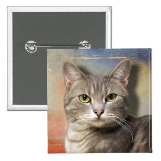 Pookie the Gray Cat 2 Inch Square Button