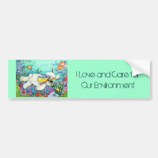 POOKY DIVE, I Love and Care for Our Environment Car Bumper Sticker