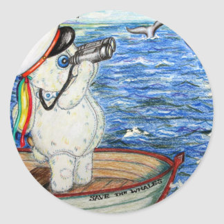 POOKY WHALES CLASSIC ROUND STICKER