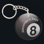 """Pool 8 Personalize Keychain<br><div class=""""desc"""">The eight ball.  Add your name or text.</div>"""