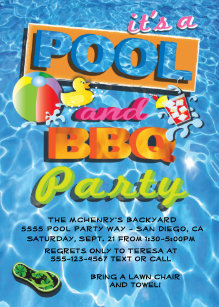 bbq pool party invitations zazzle