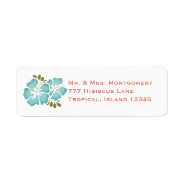 Beach Themed Pool and Coral Hibiscus Return Address Labels