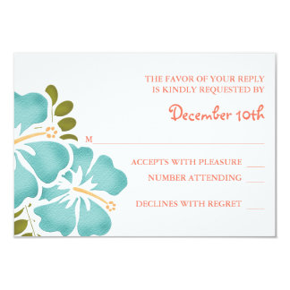 POOL AND CORAL HIBISCUS RSVP WEDDING RESPONSE CARD
