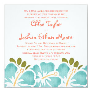 Pool and Coral Hibiscus Wedding Invitations 5.25