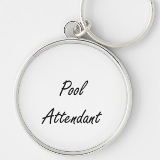 Pool Attendant Artistic Job Design Silver-Colored Round Keychain