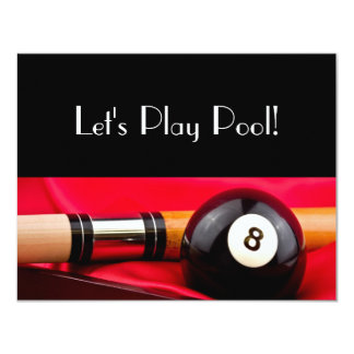 Pool Ball and cue 4.25x5.5 Paper Invitation Card