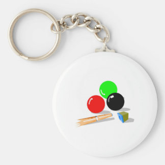 Pool Balls and Stick Keychain