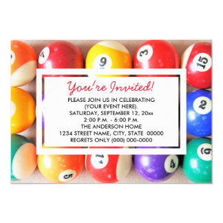 Pool Balls Invitations