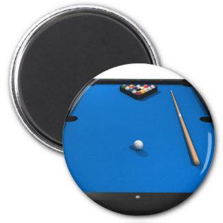 Pool Balls on Blue Felt Billiards Table: 2 Inch Round Magnet