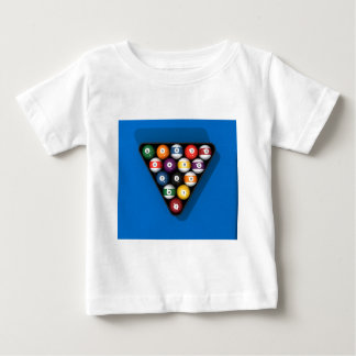 Pool Balls on Blue Felt Billiards Table: Baby T-Shirt