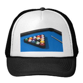 Pool Balls on Blue Felt Billiards Table: Mesh Hat