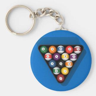 Pool Balls on Blue Felt Billiards Table: Keychain
