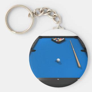 Pool Balls on Blue Felt Billiards Table: Basic Round Button Keychain