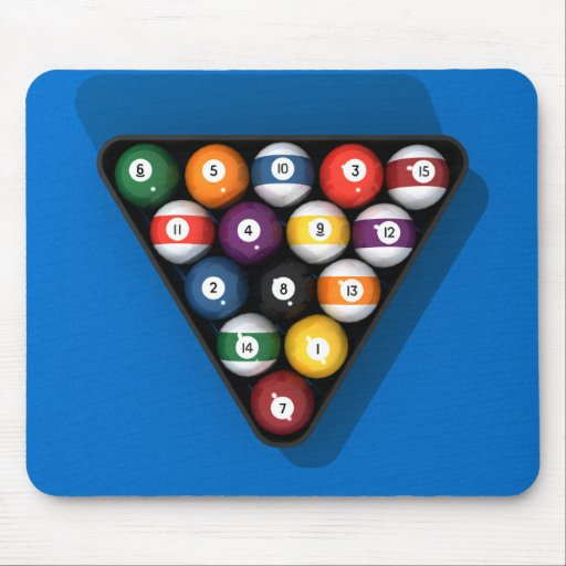 Pool Balls on Blue Felt Billiards Table: Mouse Pads