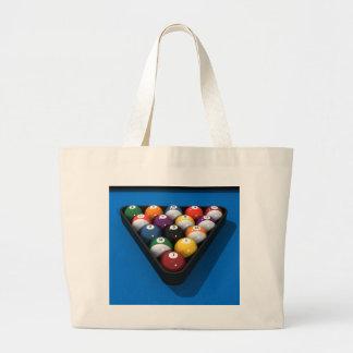 Pool Balls on Blue Felt: Large Tote Bag