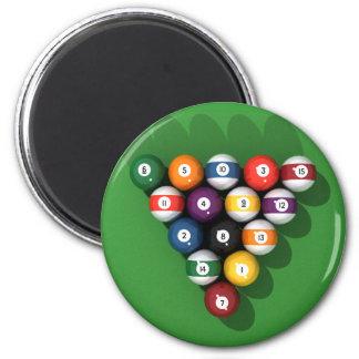 Pool Balls on Green Felt: 2 Inch Round Magnet