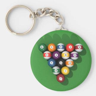 Pool Balls on Green Felt: Basic Round Button Keychain