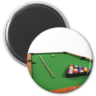 Pool Balls on Green Felt Billiards Table: 2 Inch Round Magnet