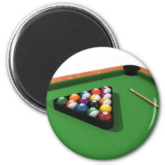 Pool Balls on Green Felt Billiards Table 2 Inch Round Magnet