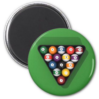 Pool Balls on Green Felt Billiards Table: Refrigerator Magnet