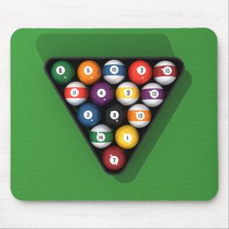 Pool Balls on Green Felt Billiards Table: Mouse Pad