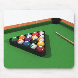 Pool Balls on Green Felt Billiards Table Mouse Pad
