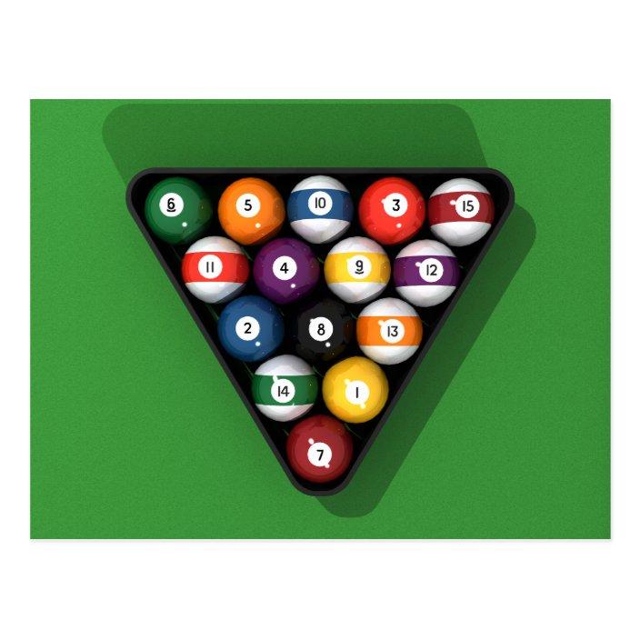 Pool Balls On Green Felt Billiards Table Postcard Zazzle Com