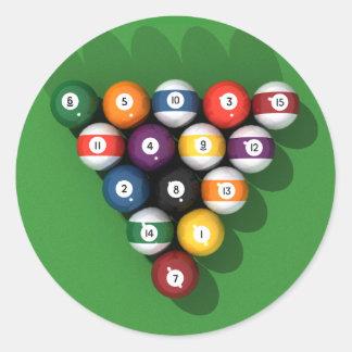 Pool Balls on Green Felt: Classic Round Sticker