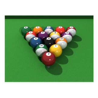 Pool Balls on Green Felt: Postcard