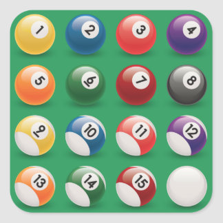 pool balls square stickers