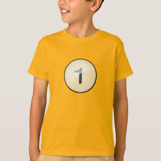Pool Billiard Ball Number 1. Front & back print. T-Shirt