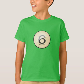 Pool Billiards Ball Number 6. Front & back print. T-Shirt