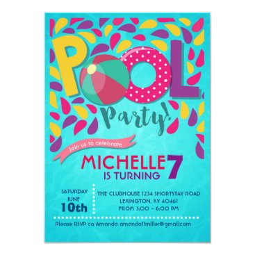 dasqprints Pool Birthday Party Invitation