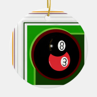 POOL BLACK AND RED BALL CERAMIC ORNAMENT