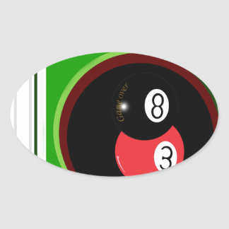 POOL BLACK AND RED BALL OVAL STICKER
